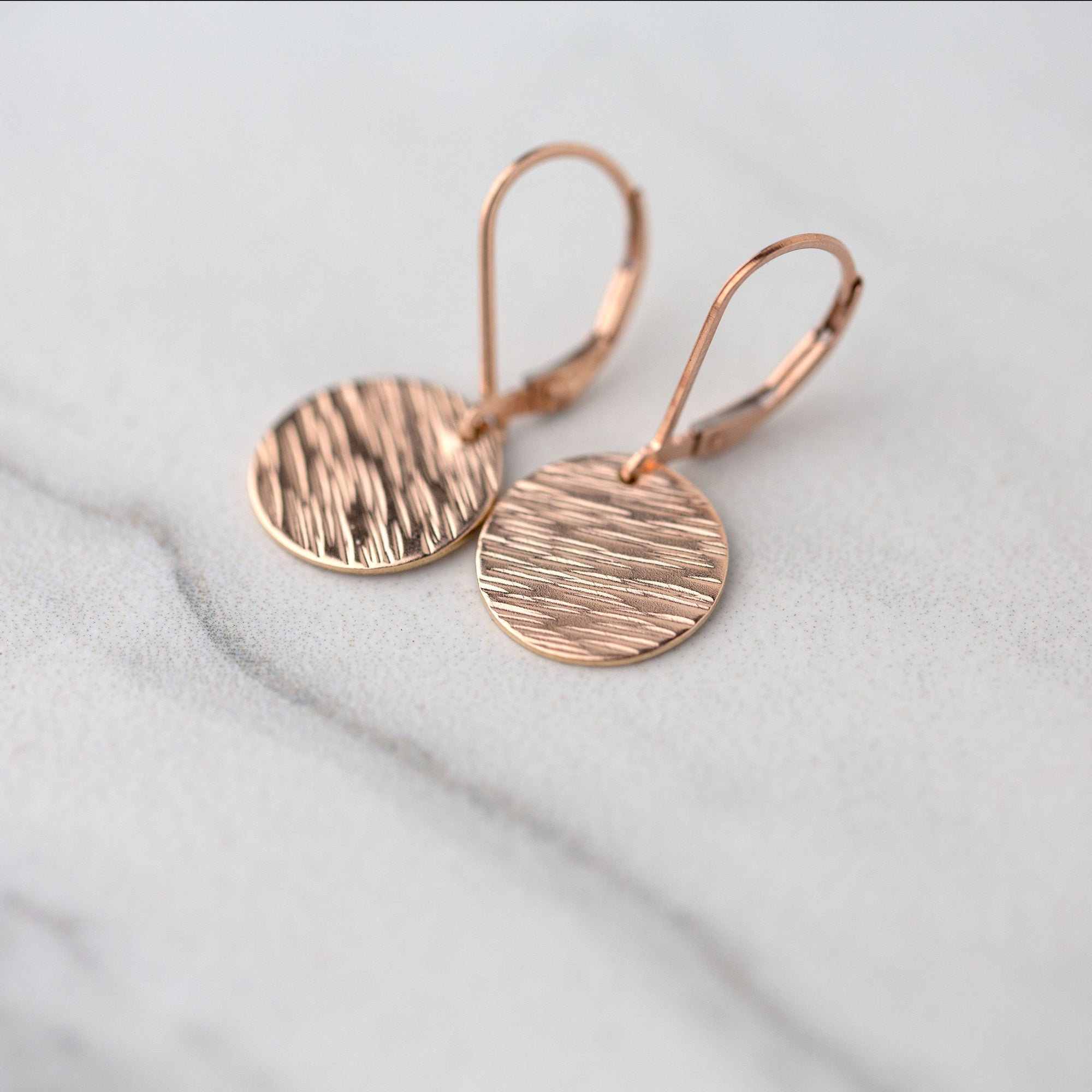 Medium Rose Gold Hammered Bark Lever-back Earrings