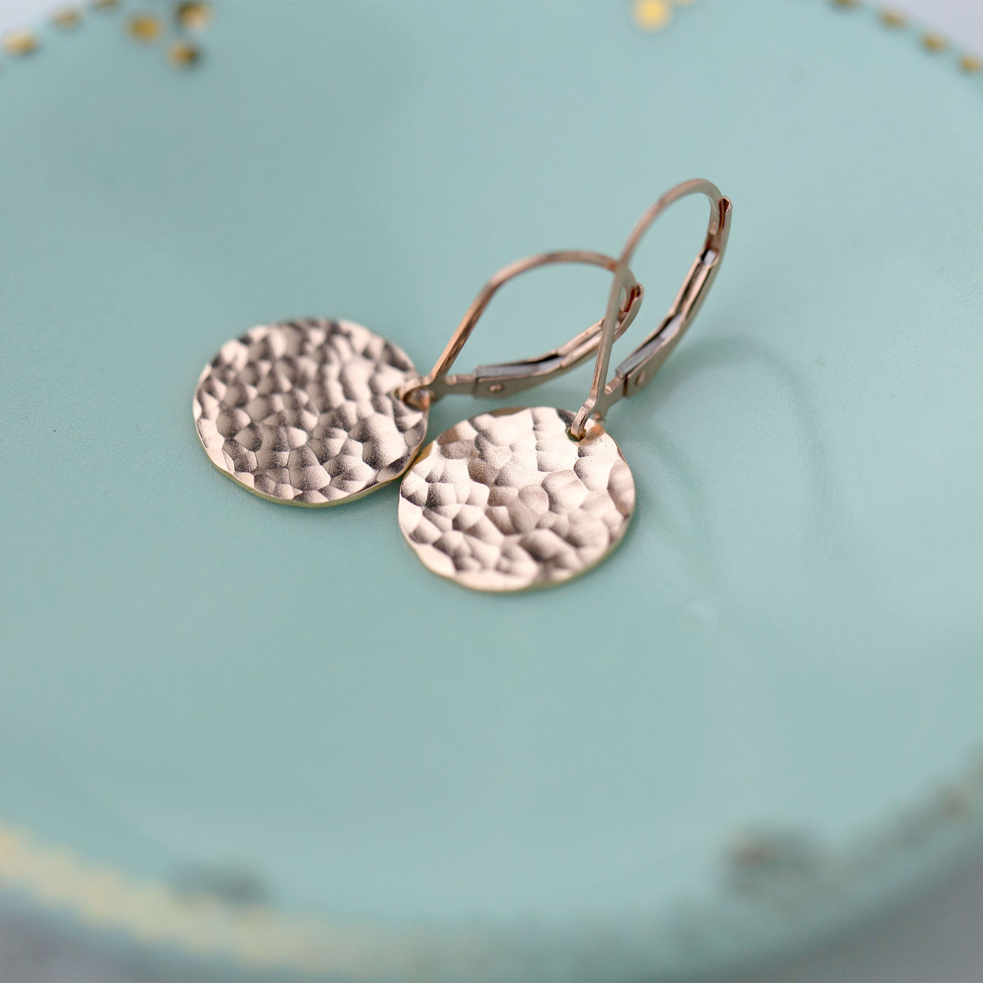 Medium Rose Gold Hammered Disc Lever-back Earrings