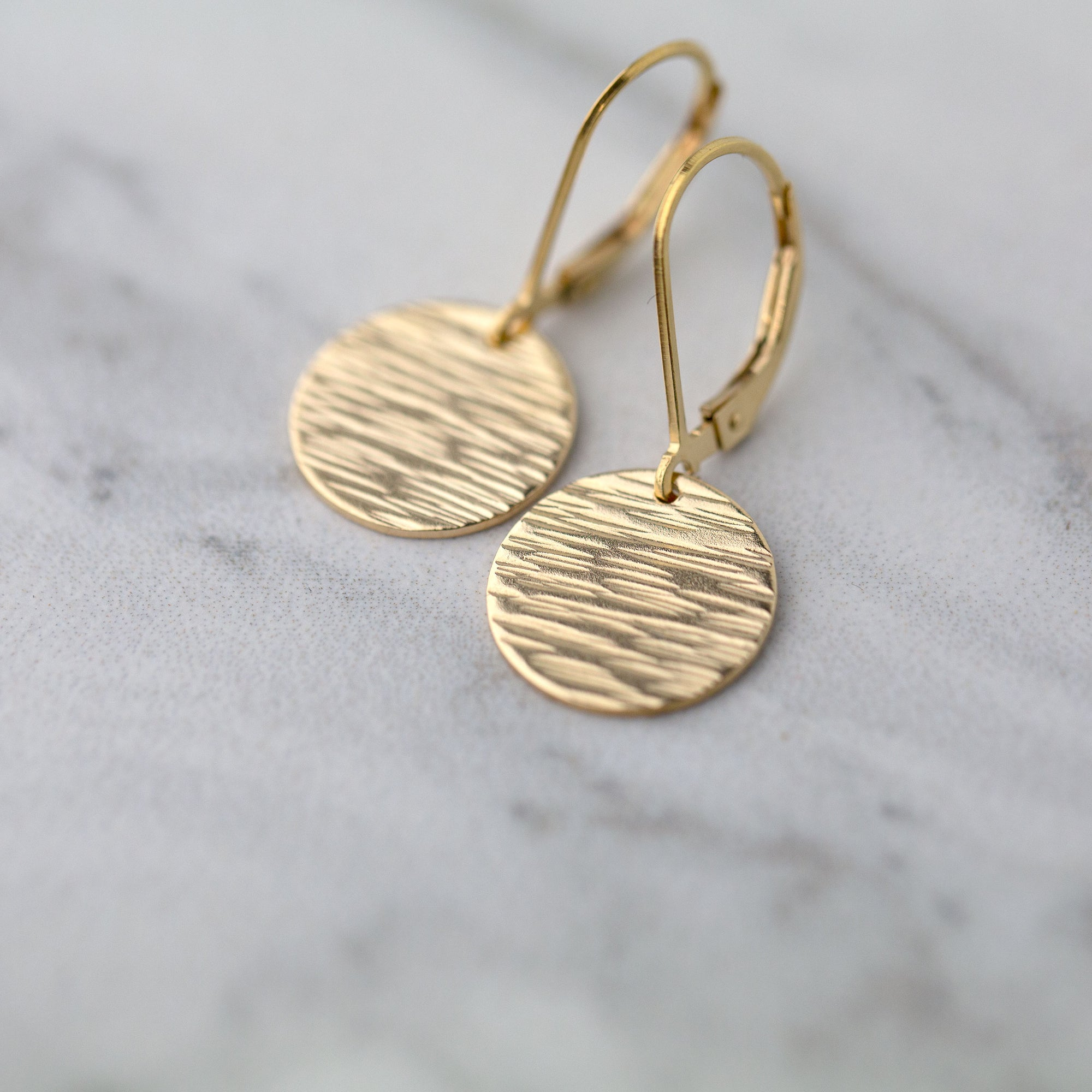 Medium Gold Hammered Bark Lever-back Earrings