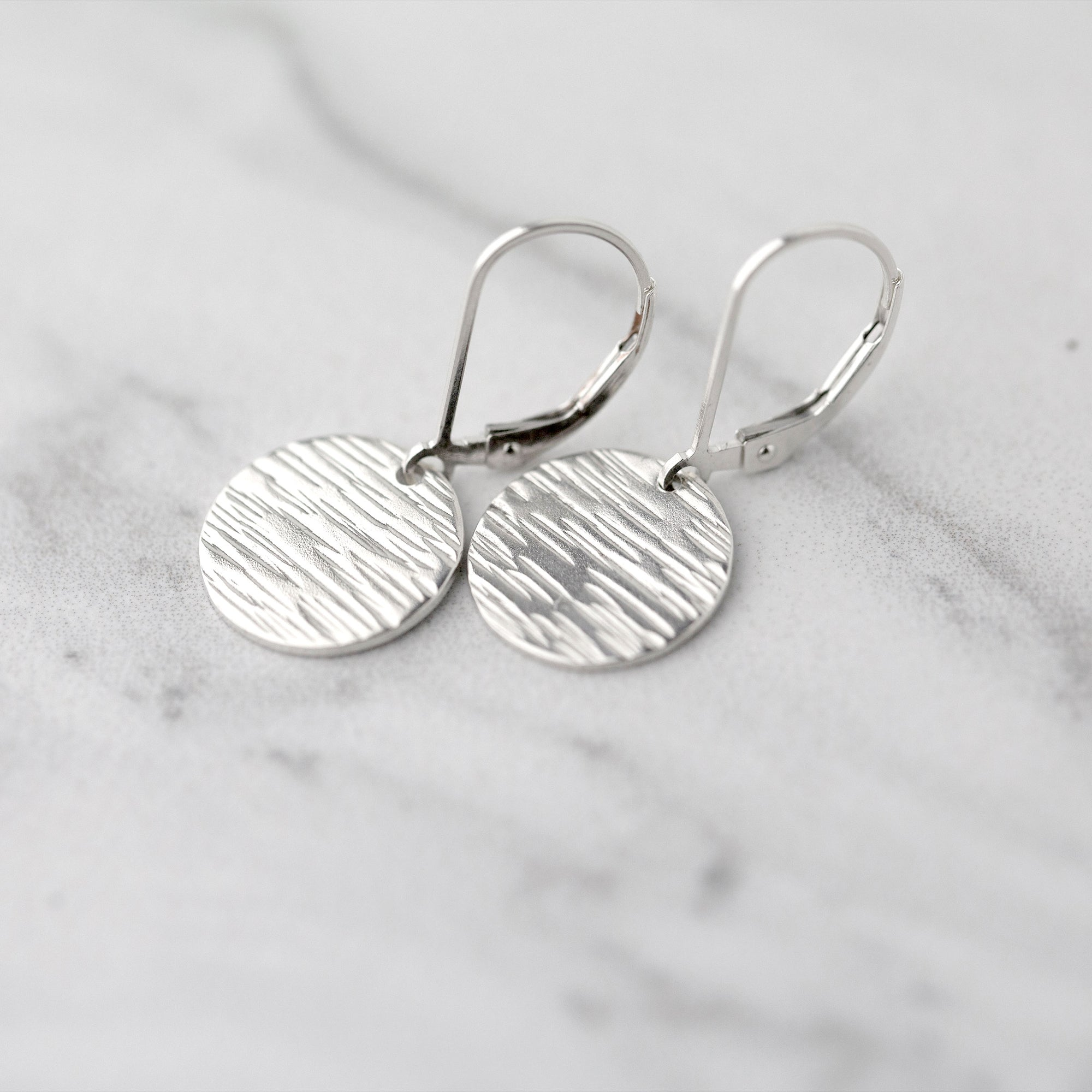 Medium Silver Bark Texture Lever-back Earrings