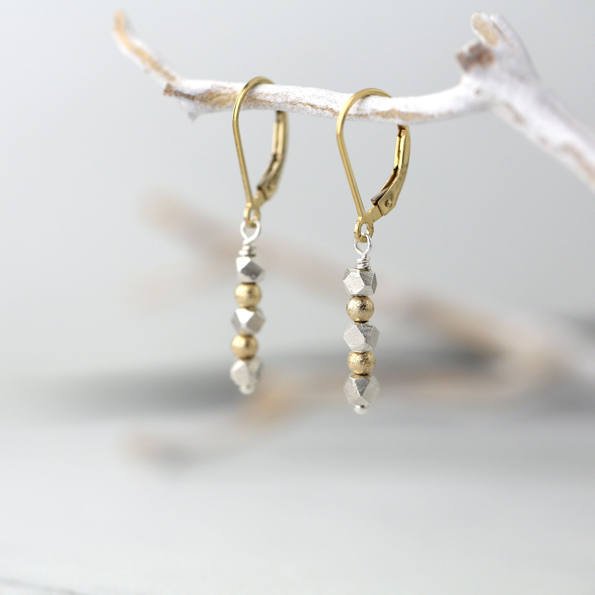 Sparkle & Nugget Bead Lever-back Earrings