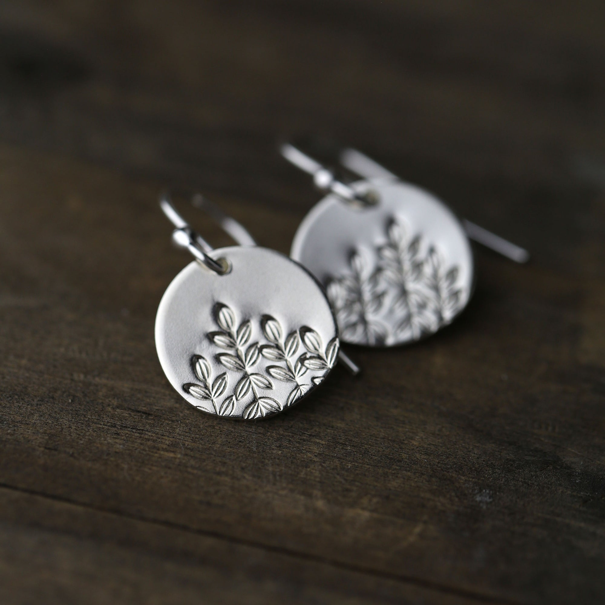 Botanical Hand Stamped Earrings