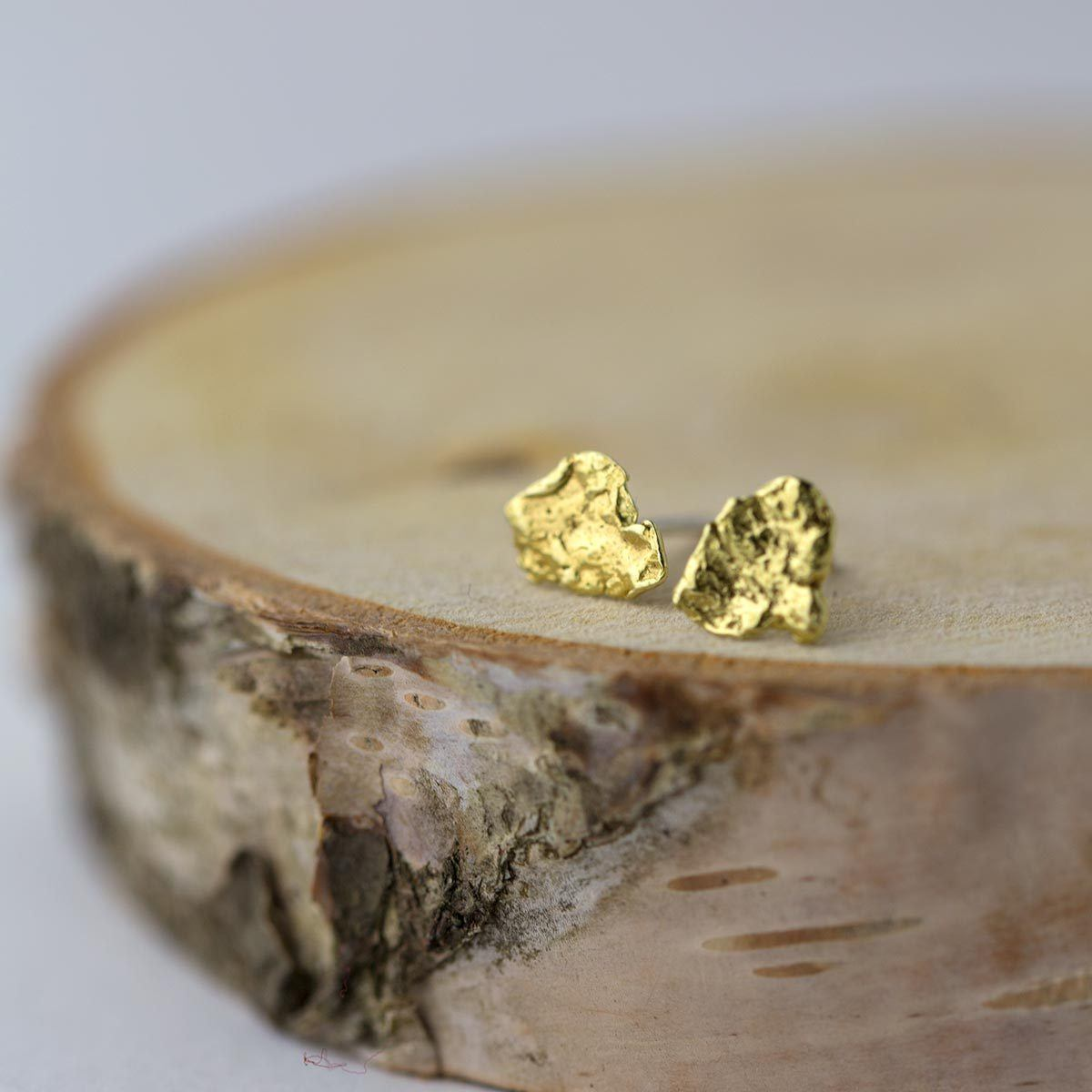 Alaska Gold Nugget Flake Earrings - Handmade Jewelry by Burnish