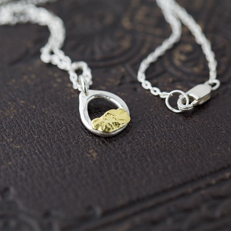 Alaska Gold Nugget & Sterling Silver Necklace - Handmade Jewelry by Burnish