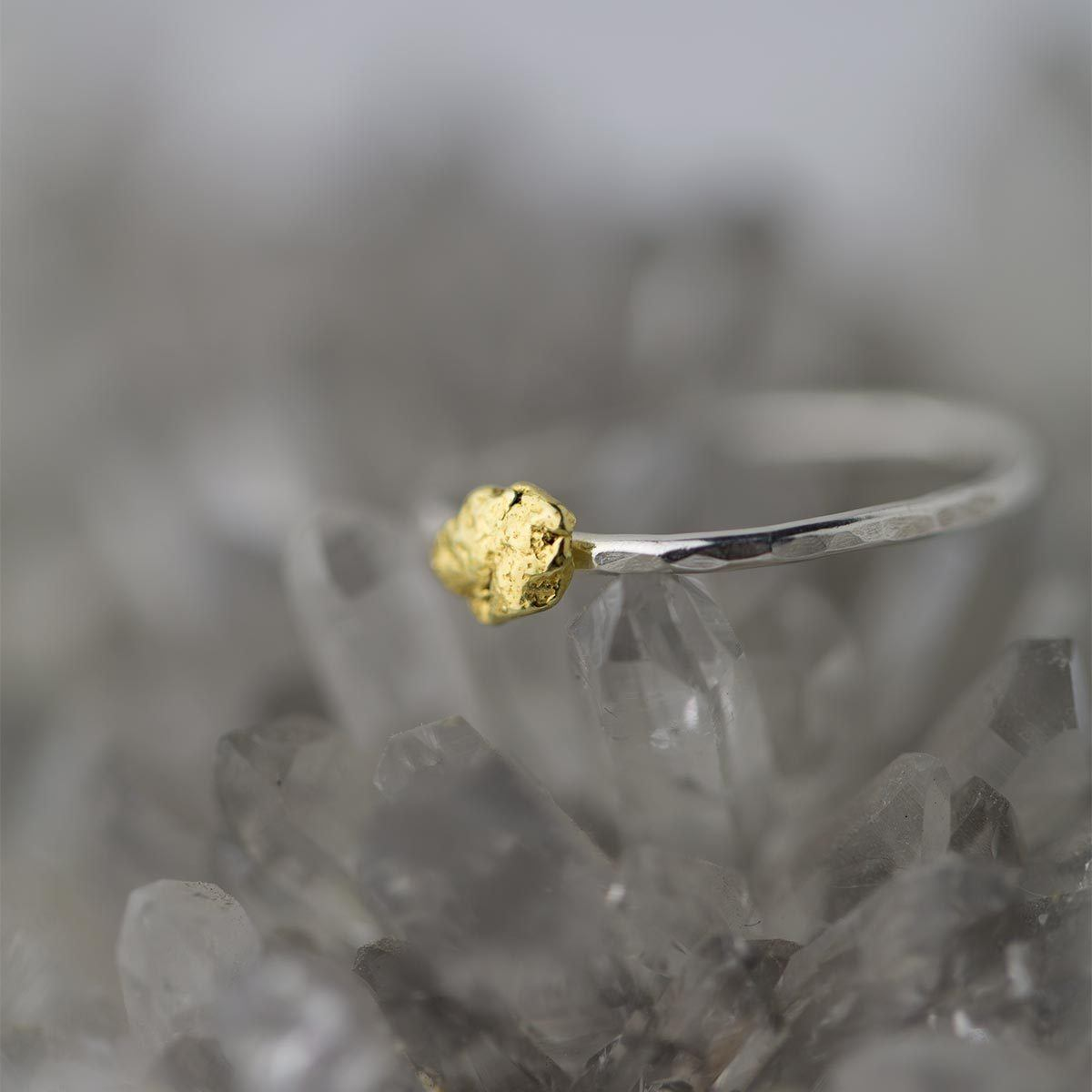 Alaska Gold Nugget & Sterling Silver Ring - Handmade Jewelry by Burnish