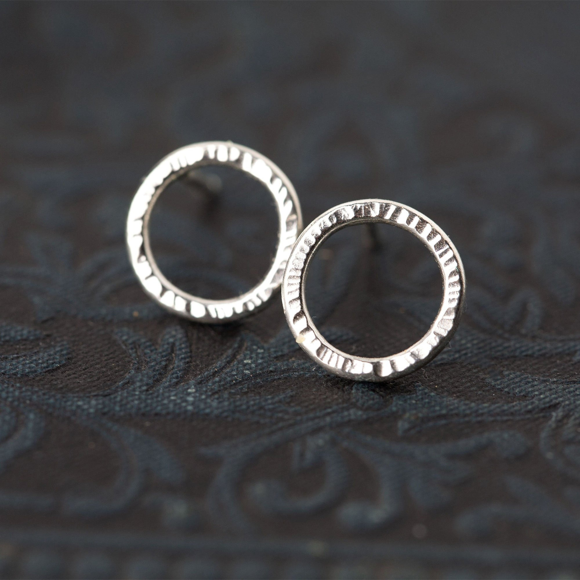 Bark Circle Stud Earrings - Handmade Jewelry by Burnish