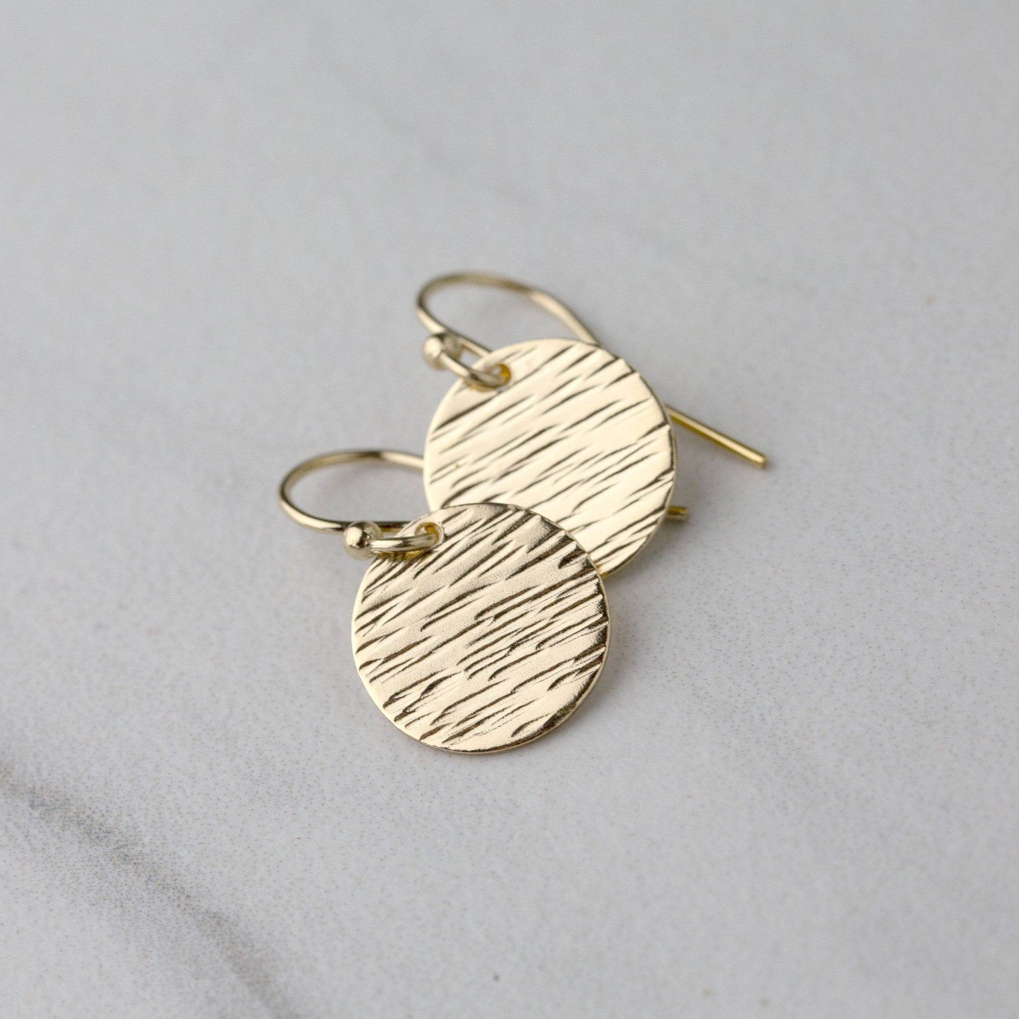 Bark Texture Gold Disk Earrings - Handmade Jewelry by Burnish