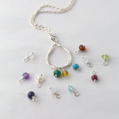 Birthstone Teardrop Necklace - 1 or More Stones - Handmade Jewelry by Burnish
