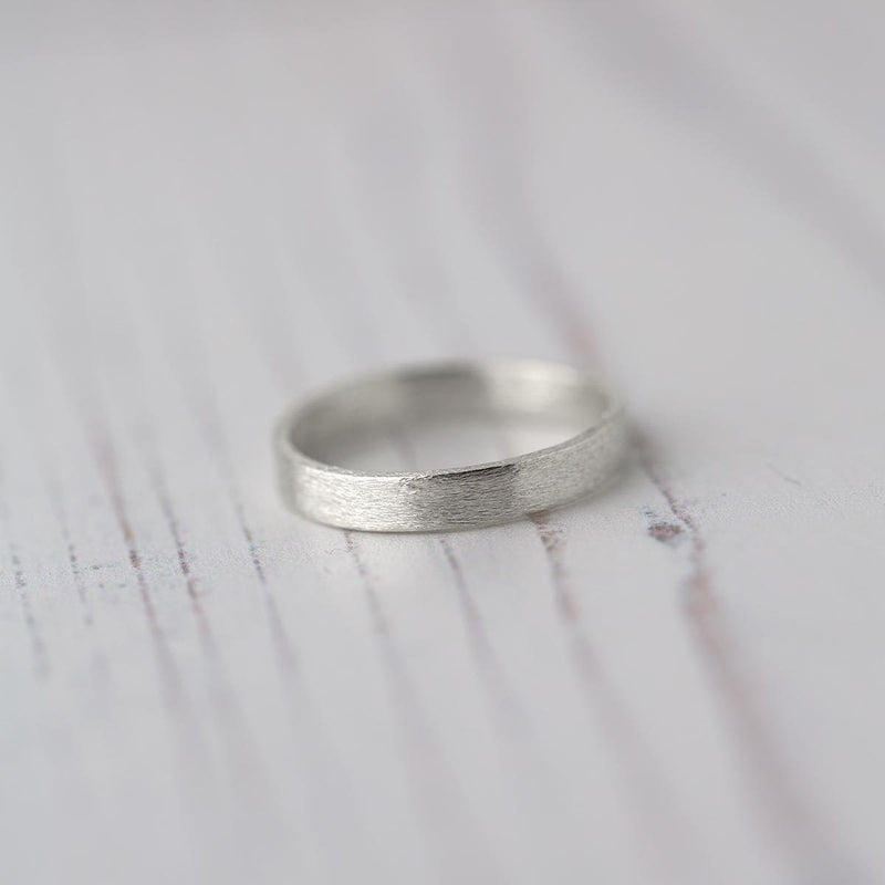 Brushed Sterling Silver Ring Band - Handmade Jewelry by Burnish