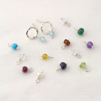Circle Birthstone Earrings - Handmade Jewelry by Burnish