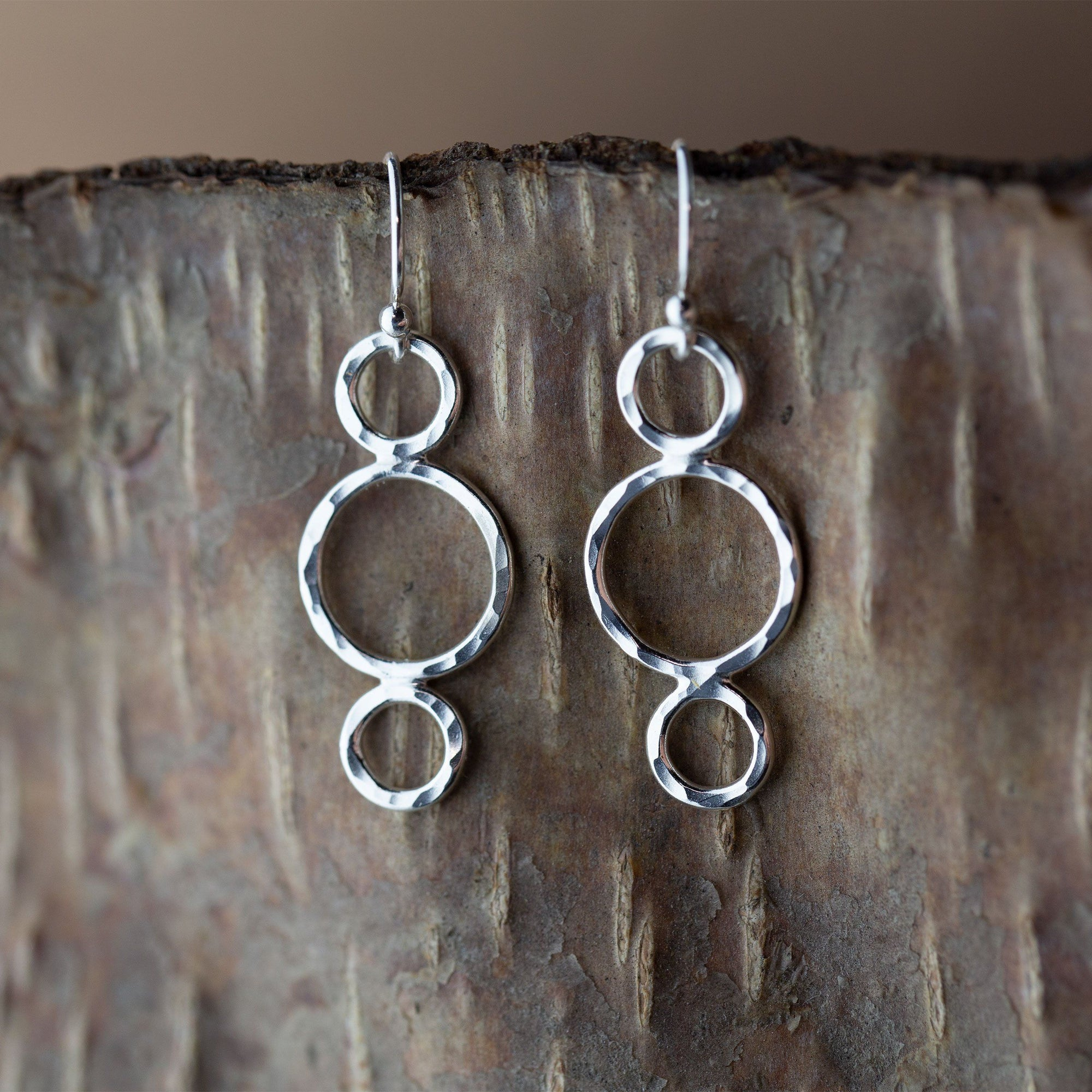Circle Trio Hammered Silver Earrings - Handmade Jewelry by Burnish