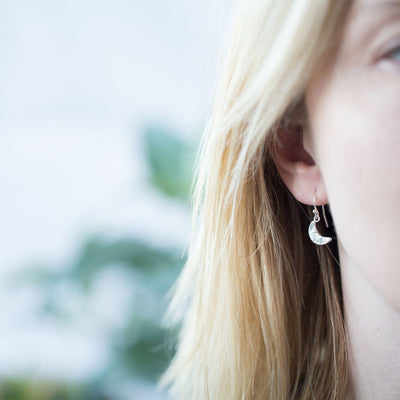 Crescent Moon Earrings - Handmade Jewelry by Burnish