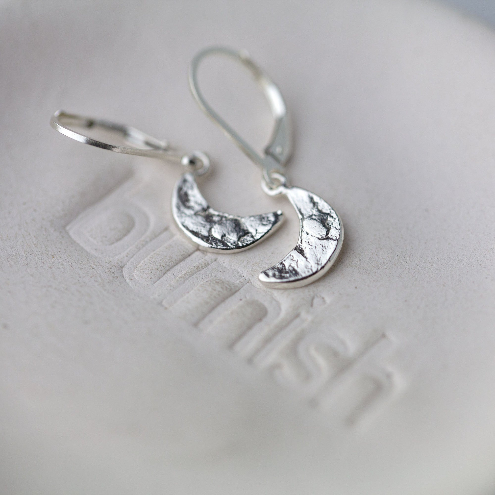 Crescent Moon Lever-back Earrings - Handmade Jewelry by Burnish