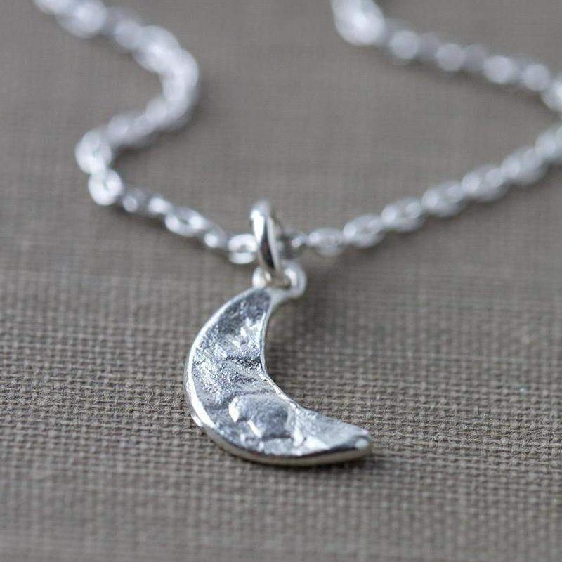 Crescent Moon Necklace - Handmade Jewelry by Burnish