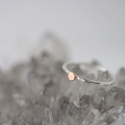 Dainty Dot Ring - Silver/Rose Gold - Handmade Jewelry by Burnish