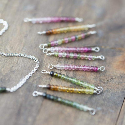 Dainty Tourmaline Bar Necklace - Handmade Jewelry by Burnish