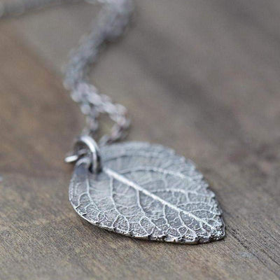 Detailed Leaf Necklace - Handmade Jewelry by Burnish