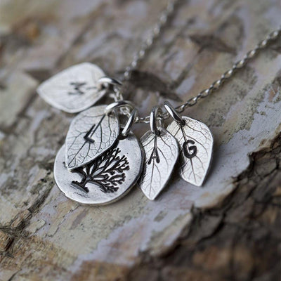 Family Tree Necklace with Initial Leaves - Handmade Jewelry by Burnish