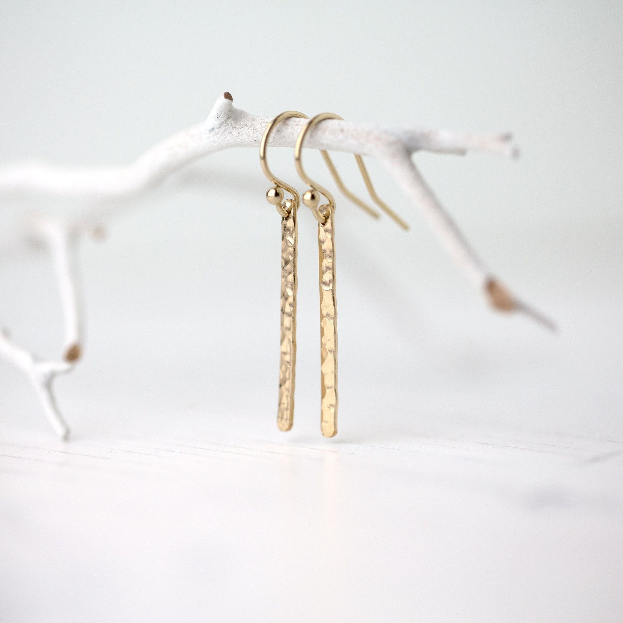 Gold Slim Bar Earrings - Handmade Jewelry by Burnish