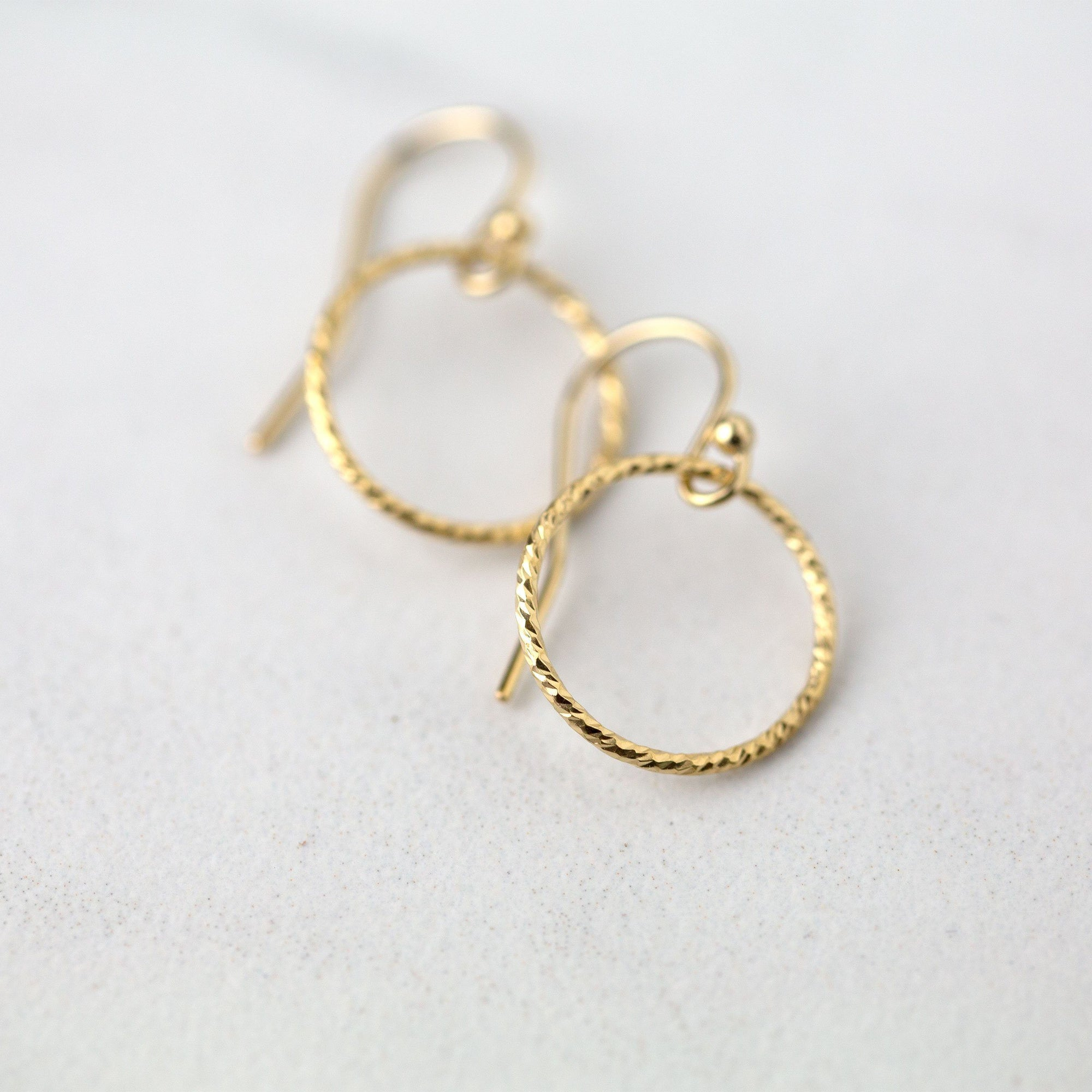 Gold Sparkle Circle Earrings - Handmade Jewelry by Burnish