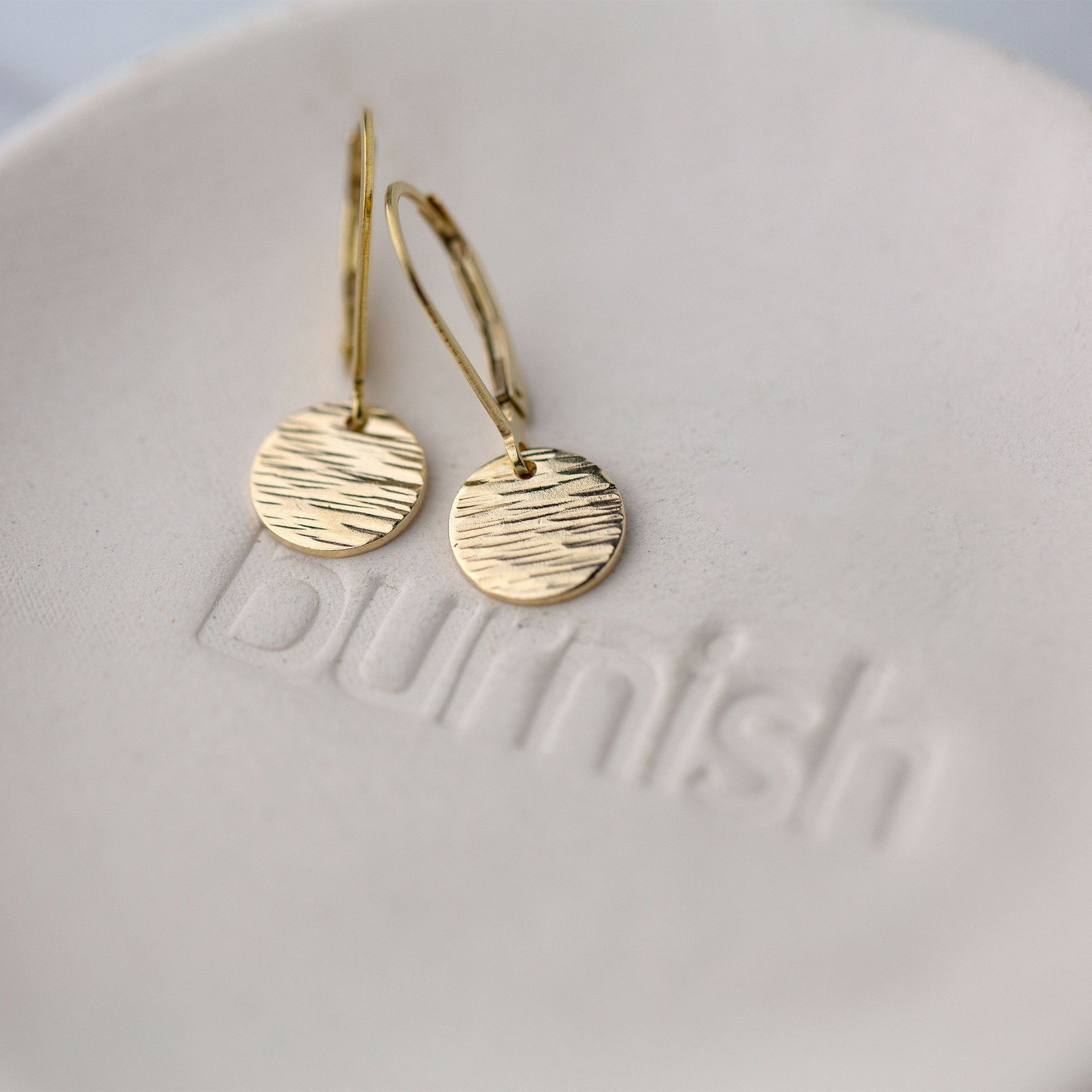 Gold Textured Disc Lever-back Earrings - Handmade Jewelry by Burnish