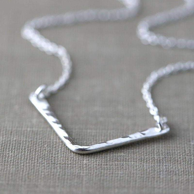 Hammered Chevron Necklace - Handmade Jewelry by Burnish
