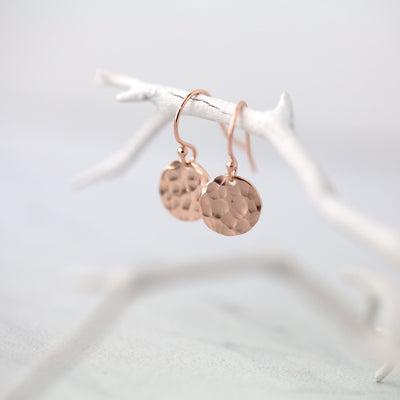 Hammered Disc Earrings - Rose Gold Fill - Handmade Jewelry by Burnish