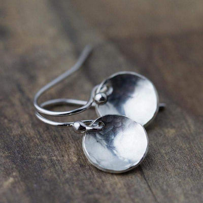 Hammered & Domed Earrings - Handmade Jewelry by Burnish