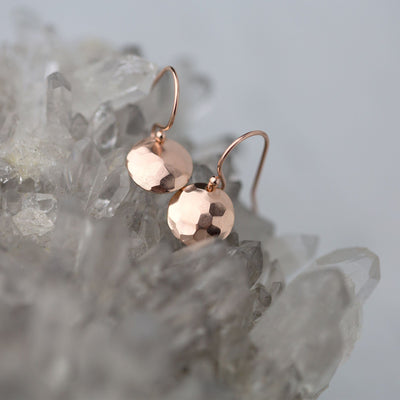 Hammered & Domed Earrings - Rose Gold Fill - Handmade Jewelry by Burnish