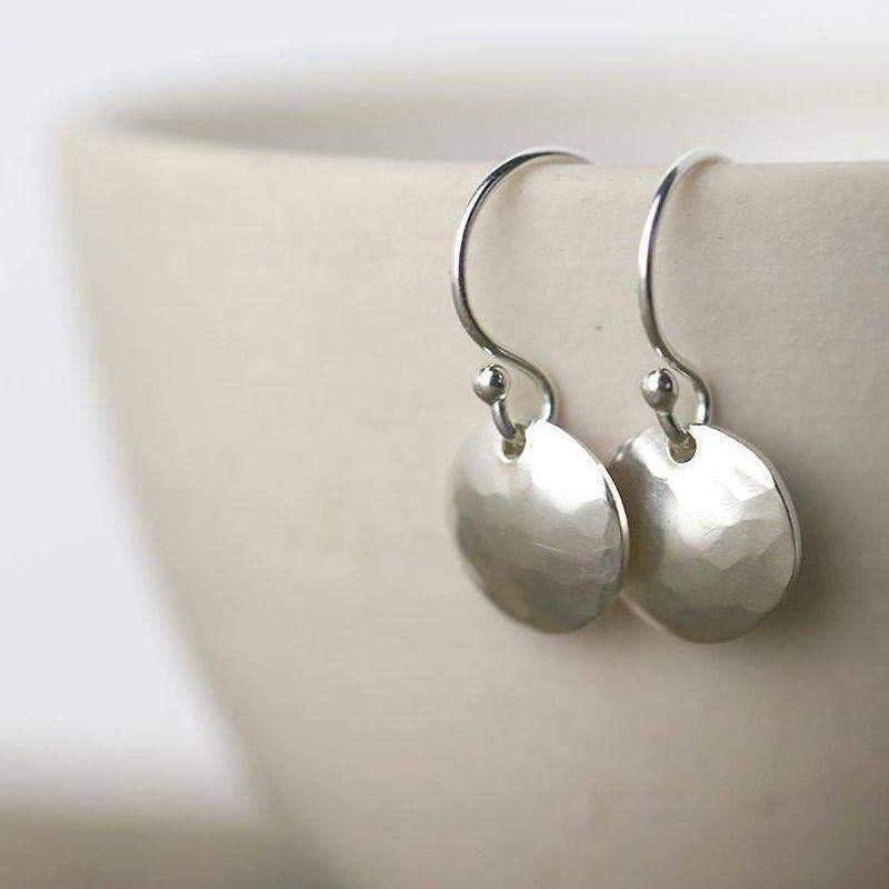 Hammered & Domed Earrings - Sterling Silver - Handmade Jewelry by Burnish