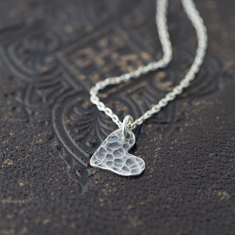Hammered Heart Necklace - Handmade Jewelry by Burnish