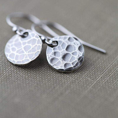 Hammered Rustic Disk Earrings - Handmade Jewelry by Burnish