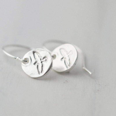 Hand Stamped Bird Earrings - Handmade Jewelry by Burnish