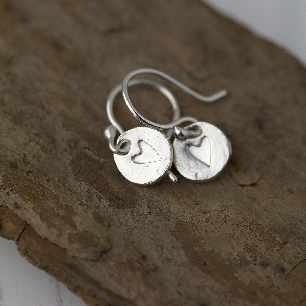 Hand Stamped Heart Earrings - Handmade Jewelry by Burnish