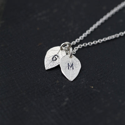Hand Stamped Initials Leaf Necklace - Handmade Jewelry by Burnish