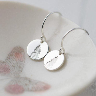 Hand Stamped Leaf Earrings - Handmade Jewelry by Burnish