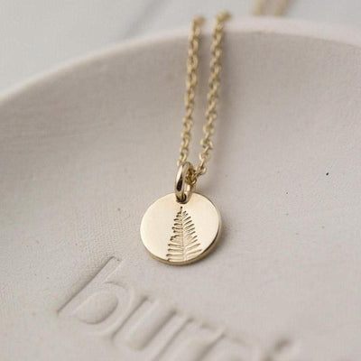 Hand Stamped Leaf Necklace - Handmade Jewelry by Burnish