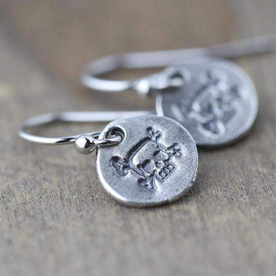 Hand Stamped Skull & Crossbone Earrings - Handmade Jewelry by Burnish