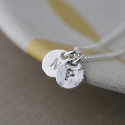Hand Stamped Tiny Initial Necklace - Handmade Jewelry by Burnish