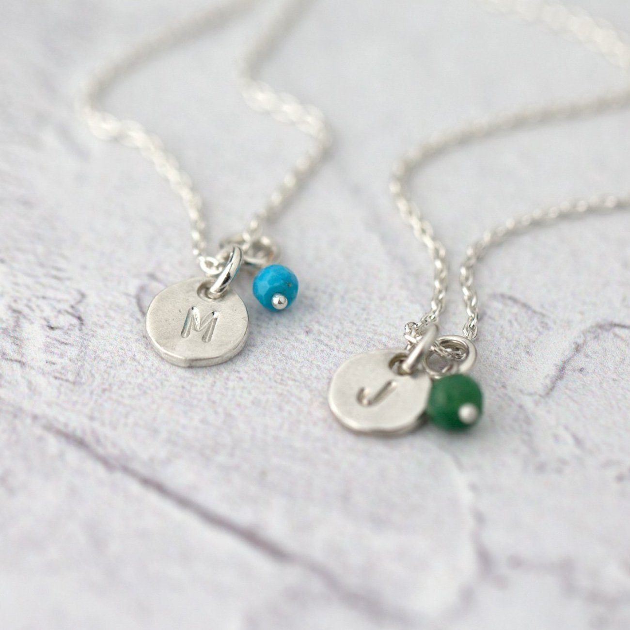 Initial Birthstone Necklace - Handmade Jewelry by Burnish