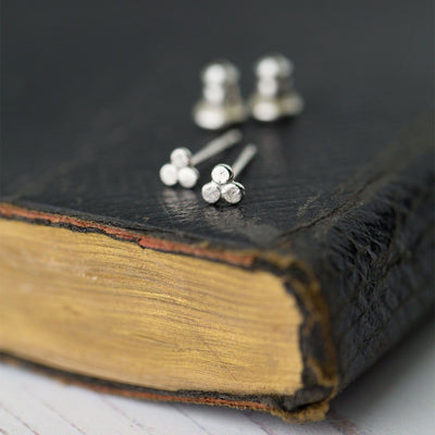 Itty Bitty Trio Dot Earrings - Handmade Jewelry by Burnish