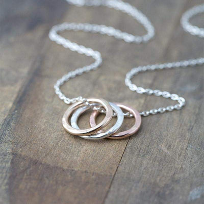 Large Hammered Circle Trio Necklace - Handmade Jewelry by Burnish