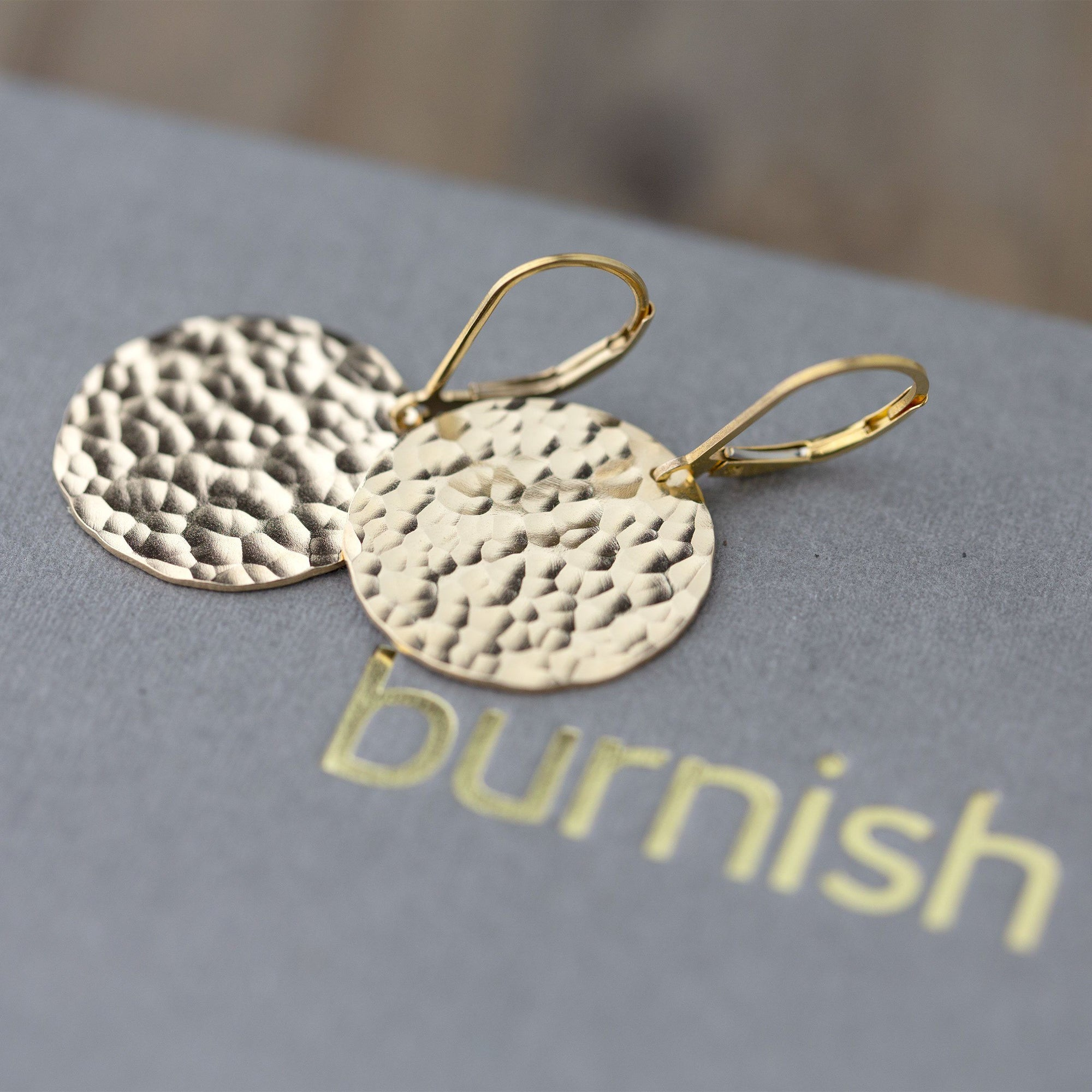 Large Hammered Gold Disc Lever-back Earrings - Handmade Jewelry by Burnish