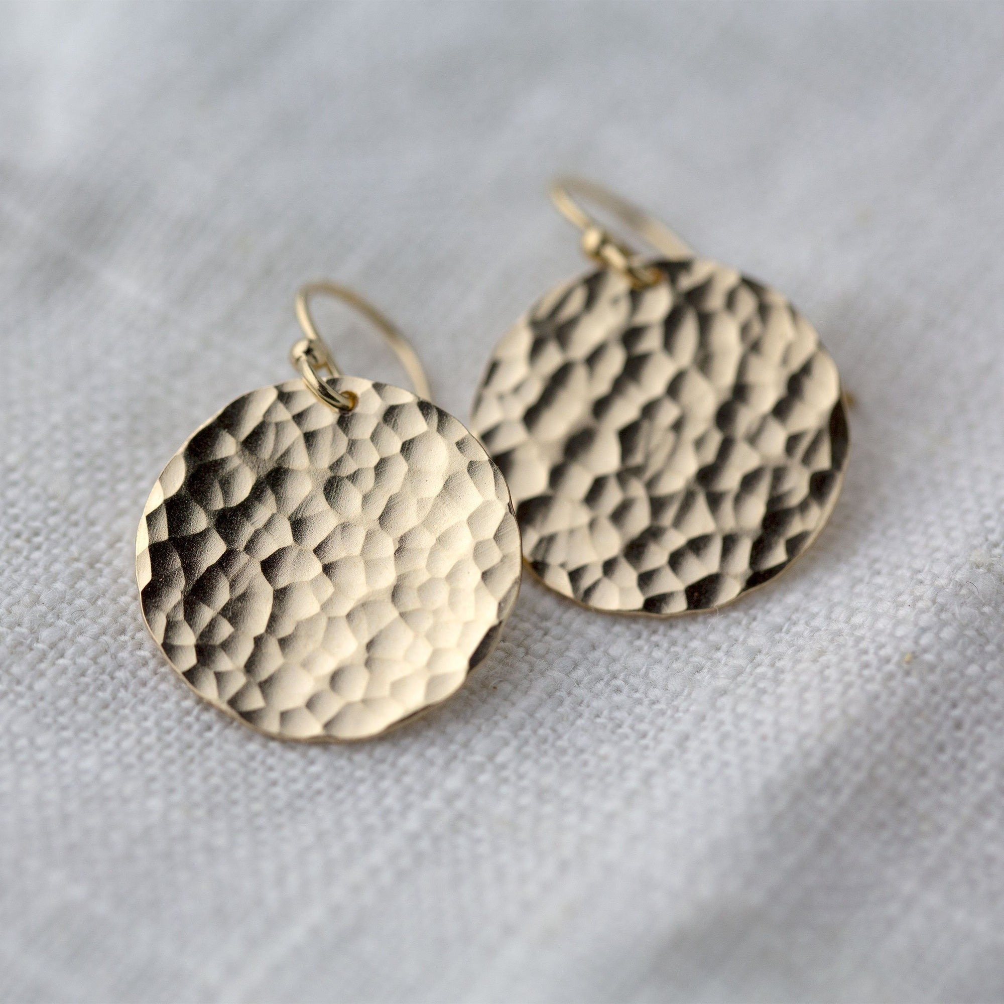 Large Hammered Gold Disk Earrings - Handmade Jewelry by Burnish