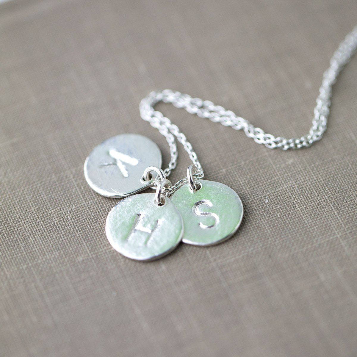 Large Monogram Disk Necklace - Handmade Jewelry by Burnish