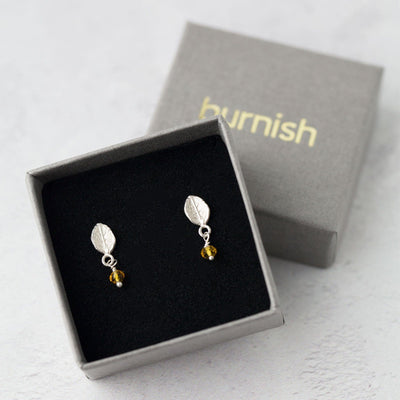 Leaf Birthstone Earrings - Handmade Jewelry by Burnish