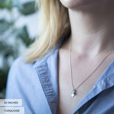 Leaf Birthstone Necklace - Handmade Jewelry by Burnish