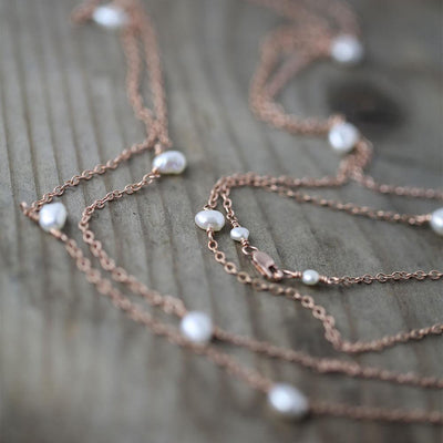 Long Rose Gold Pearl Necklace or Bracelet - Handmade Jewelry by Burnish