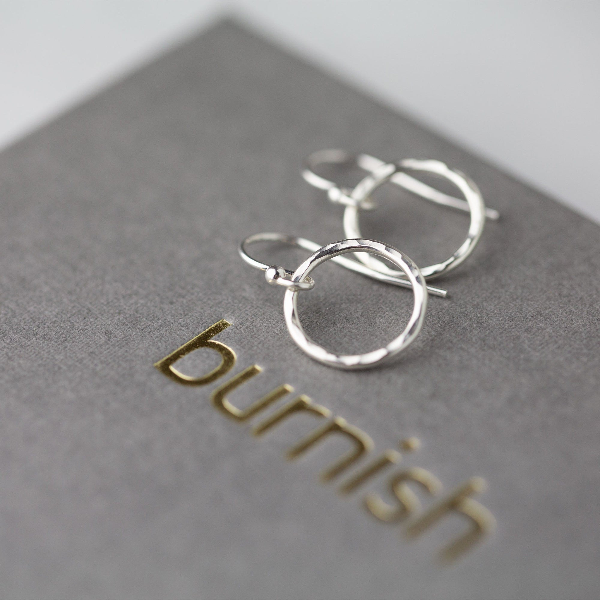 Medium Hammered Circle Earring - Handmade Jewelry by Burnish