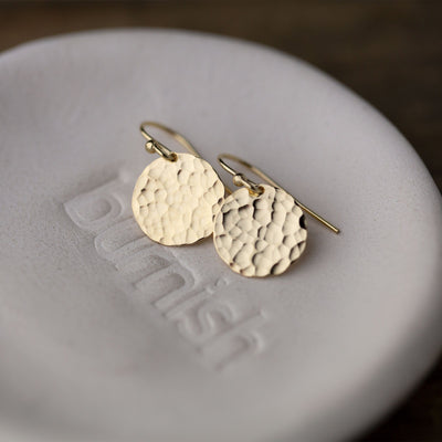 Medium Hammered Disk Earrings - Handmade Jewelry by Burnish